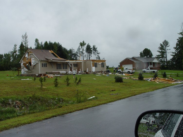 Damage in Stokesdale, NC, from a tornado that was produced during the passage of the remnants of Hurricane Ivan on Friday, September 17, 2004