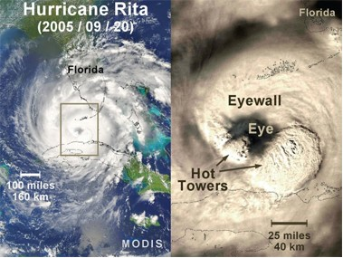 Satellite view (MODIS) and detailed imagery of Hurricane Rita as she intensified on September 20, 2005.
