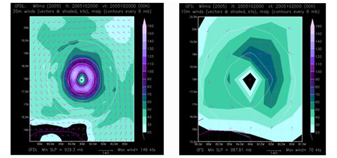 Hurricane forecast model images showing a horizontal map of wind speed, wind direction, and atmospheric pressure close to the sea surface in Hurricane Wilma (2005).