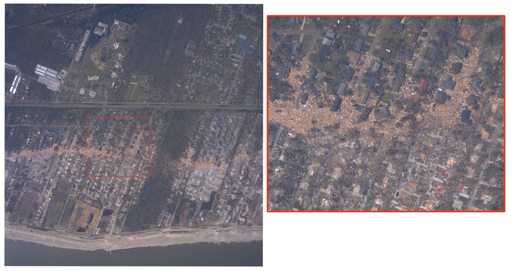 Aerial photo of the Mississippi coastline after Hurricane Katrina (2005).  The area was heavily damaged by storm surge.