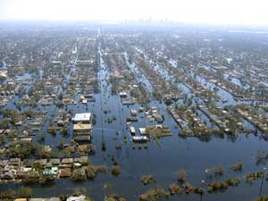 Photo of the flooding in New Orleans following Katrina.